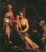 Correggio - paintings - The Rest on the Flight to Egypt with Saint Francis