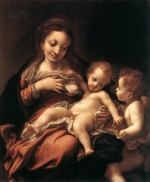 Correggio - paintings - Virgin and Child with an Angel (Madonna del Latte)