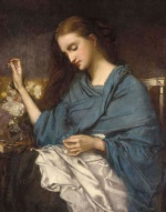 Thomas Couture  - Bilder Gemälde - Young Woman Sewing