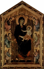 Duccio di Buoninsegna - paintings - Thronende Madonna und Engel