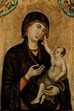 Duccio di Buoninsegna - paintings - Thronende Madonna und zwei Engel