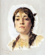 Frank Duveneck - Bilder Gemälde - Head of an Oriental Woman