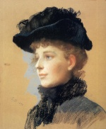 Frank Duveneck - Bilder Gemälde - Portrait of a Woman with Black Hat