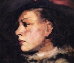 Frank Duveneck - Bilder Gemälde - Profile of Girl with Hat