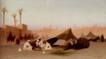 Charles Theodore Frere - Bilder Gemälde - A Late Afternoon Meal at an Encampment in Cairo