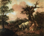 Thomas Gainsborough - paintings - Landscape with a Woodcutter and Milkmaid