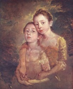 Thomas Gainsborough - paintings - Artists daughters with a cat