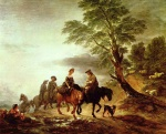 Thomas Gainsborough - paintings - Open Landscape with Mounted Peasants