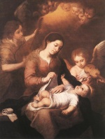 Bartolome Esteban Perez Murillo - Bilder Gemälde - Mary and Child with Angels Playing Music