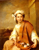 Bartolome Esteban Perez Murillo - Bilder Gemälde - The Flower Girl