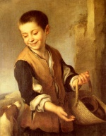 Bartolome Esteban Perez Murillo - Bilder Gemälde - Urchin With a Dog and Basket