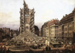 Bernardo Bellotto - Bilder Gemälde - The Ruins of the Old Kreuzkirche in Dresden