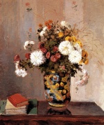 Camille  Pissarro  - paintings - Chrysanthemums in a Chinese Vase