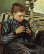 Camille  Pissarro  - paintings - Girl Sewing