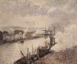 Camille  Pissarro  - paintings - Steamboats in the Port of Rouen