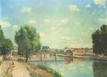 Camille  Pissarro  - paintings - The Railway Bridge at Pontoise