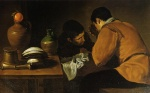 Diego Velazquez  - Bilder Gemälde - Two Young Men at a Table