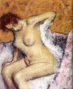 Edgar Degas  - Bilder Gemälde - After The Bath