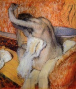 Edgar Degas  - Bilder Gemälde - After the Bath (Woman Drying Herself)
