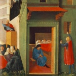 Fra Angelico  - Bilder Gemälde - Giving Dowry to Three Poor Girls