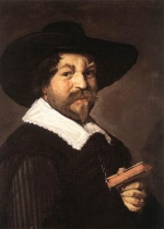 Frans Hals  - paintings - Portrait of a Man Holding a Book