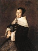Frans Hals  - paintings - Portrait of a Seated Woman Holding a Fan