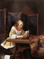 Gerhard ter Borch - Bilder Gemälde - A Lady Reading a Letter
