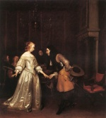 Gerhard ter Borch - Bilder Gemälde - The Dancing Couple