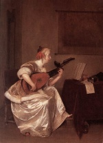 Gerhard ter Borch - Bilder Gemälde - The Lute Player