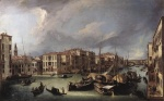 Canaletto  - Bilder Gemälde - The Grand Canal with the Rialto Bridge in the Background