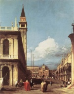 Canaletto  - Bilder Gemälde - The Piazzetta (Looking toward the Clock Tower)