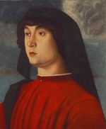 Giovanni Bellini - Bilder Gemälde - Portrait of a Young Man in Red