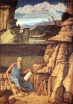 Giovanni Bellini - Bilder Gemälde - St Jerome Reading in the Countryside