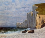 Gustave Courbet - Bilder Gemälde - A Bay with Cliffs