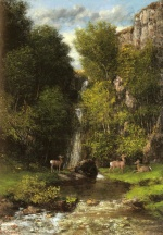 Gustave Courbet - Bilder Gemälde - A Family of Deer in a Landscape with a Waterfall