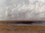 Gustave Courbet  - Bilder Gemälde - The Beach at Trouville at Low Tide