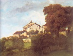 Gustave Courbet  - Bilder Gemälde - The Houses of the Chateau D Ornans