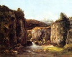 Gustave Courbet  - Bilder Gemälde - The Source among the Rocks of the Doubs
