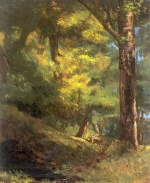 Gustave Courbet  - Bilder Gemälde - Two Goats in the Forest