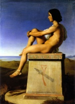 Hippolyte Flandrin - paintings - Polites, Son of Priam, Observes the Movements of the Greeks