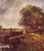 John Constable - paintings - A Boat Passing a Lock