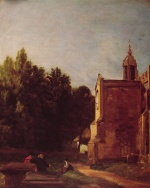 John Constable - Bilder Gemälde - A Church Porch