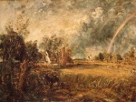 John Constable - paintings - Cottage, Rainbow, Mill