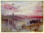 Joseph Mallord William Turner  - Bilder Gemälde - View over Town at Suset (A Cemetery in the Foreground)
