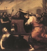 Jusepe de Ribera  - Bilder Gemälde - The Duel of Isabella de Carazzi and Diambra de Pottinella