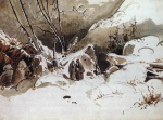 Karl Blechen - Bilder Gemälde - Alpine Pass in Winter with Monks