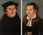 Lucas Cranach  - Bilder Gemälde - Portraits of Martin Luther and Catherine Bore
