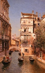 Martin Rico y Ortega - paintings - Along the Canal, Venice