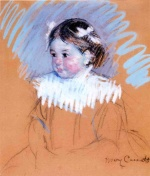 Mary Cassatt  - Bilder Gemälde - Bust of Ellen with Bows in Her Hair