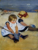 Mary Cassatt  - Bilder Gemälde - Children on the Shore
